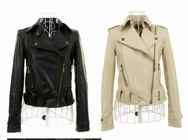 Dicount! New 2012 Womens Short Design Faux Leather Biker Bicycle Jackets WC0013 Beige Black Motorcycle Coat Outwear Size S M L-in Leather & Suede from Apparel & Accessories on Aliexpress.com