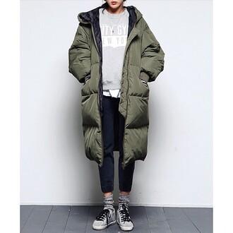 coat khaki bomber jacket jacket army green jacket puffa coat