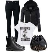 shirt,barbie,grunge,soft grunge,style,girl,fashion,black,jeans,jacket,bag,black bag,black shirt,barbie shirt,fake,shoes