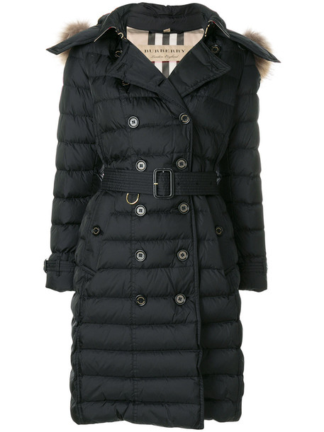 Burberry coat fur women dog black