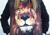sweater,lion,black,cute,fashion
