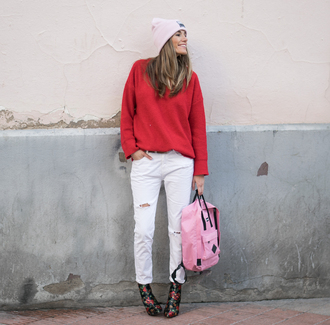 rebel attitude blogger shoes jeans sweater hat bag beanie red sweater backpack ankle boots white pants winter outfits