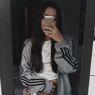 jacket grey black adidas stripes adidas jacket adidas originals girl grey sweater grey sweatsirt striped sweater sweater