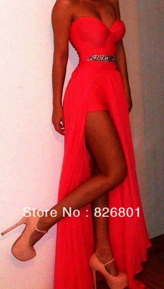 dress coral prom dress leg slit slit strapless dress sweetheart dress shoes