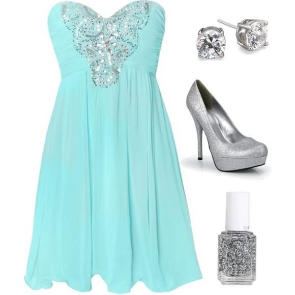 dress tiffanyblue teal silver sparkle blue formal dress semi formal prom dress
