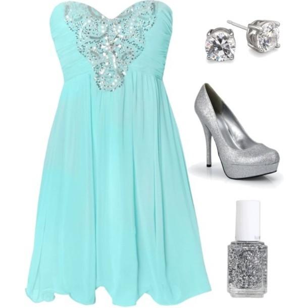 Tiffany Blue And Silver Wedding Dresses : Dress teal silver sparkle tiffany blue formal
