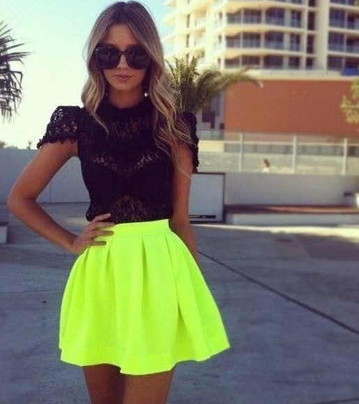 bandeau yellow cute dress neon dress skirt lace