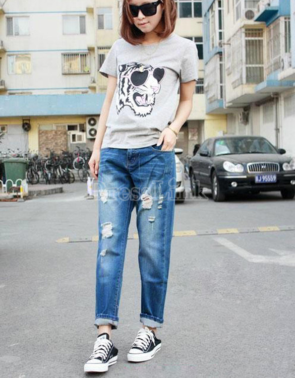 Western Women&39s Casual Loose Denim Hole Jeans Ninth Pants Harem Pants