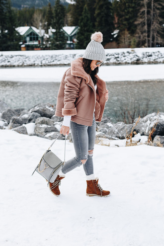 overmystyledbody blogger jacket shoes sweater hat socks sunglasses fall outfits grey hat pink coat winter outfits boots winter boots