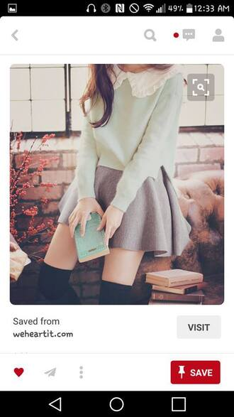 blouse mint grey skirt cute korean fashion korean style peter pan collar