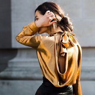 blouse metallic blouse tumblr gold bow long sleeves open back backless backless top satin shirt holiday season new year's eve