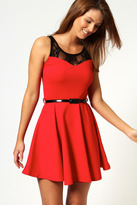 Lace Skater Dresses With Belt - ShopStyle