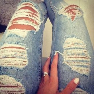 jeans ripped jeans skinny jeans summer blue