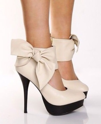 shoes cream high heels bow leather cute classy bow heels nude heels high heels