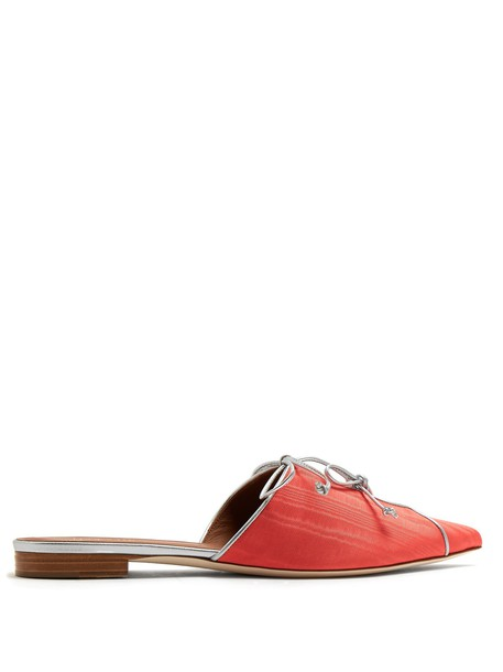 MALONE SOULIERS bow backless loafers coral shoes