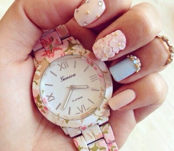floral pale pink girly green jewels floral watch