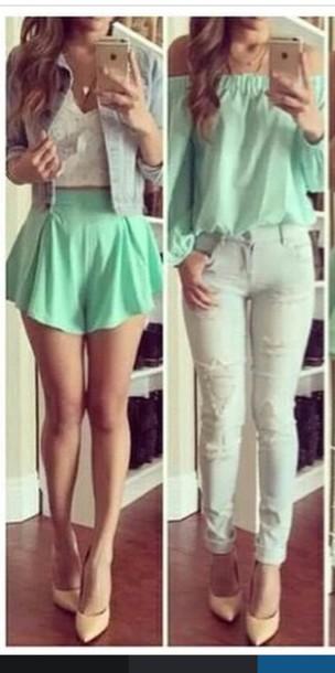 shirt blue shirt green blouse aqua turquoise shorts off the shoulder top off  the shoulder sweater 8d3928a39