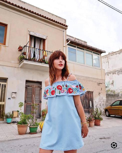 017c5d950c4 dress tumblr mini dress denim denim dress blue dress off the shoulder off  the shoulder dress