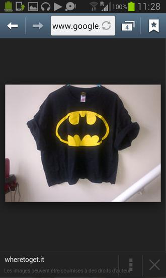 t-shirt superhero batman tee yellow batman sign cuffed sleeves