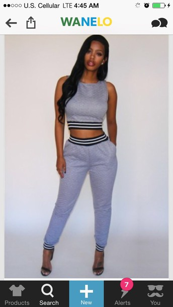 jumpsuit quitted jogger pants top shoes