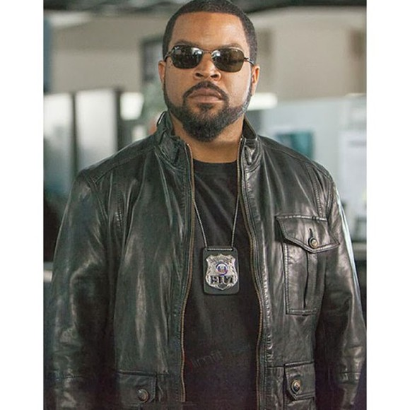 jacket black leather fashion celebs movie ride along ice cube men's fashion james payton
