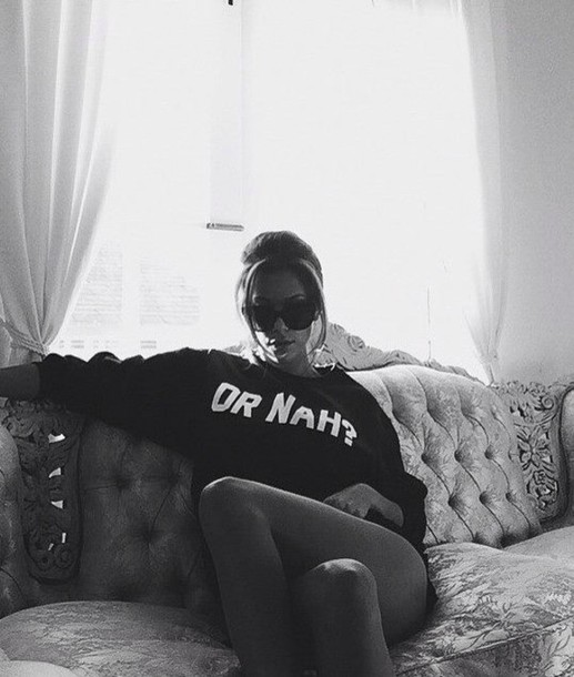 funny sweater sweater black or nah or nah? nah sunglasses