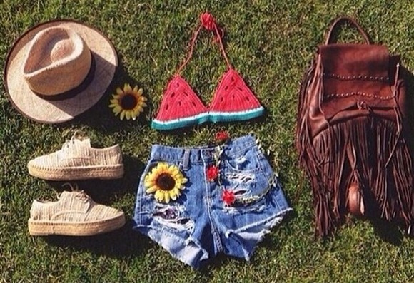 shoes denim shorts swimwear watermelon red sunflower hat high heels