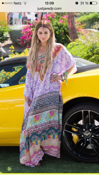 bohemian purple vanessa hudgens boho dress maxi dress pattern patterned dress dress