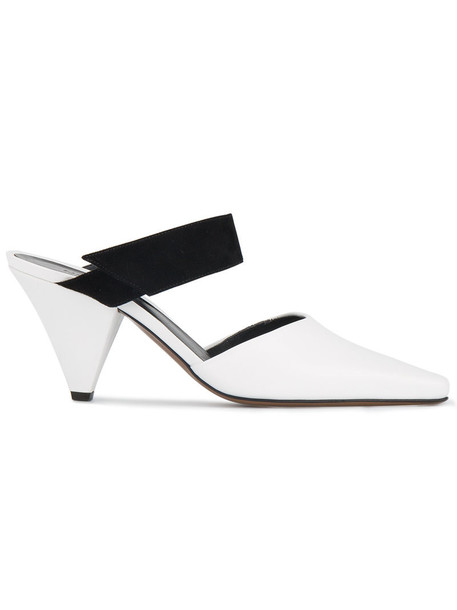 Neous women mules leather white suede shoes