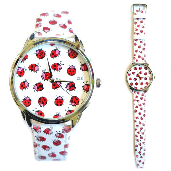 jewels white red ladybird ladybirds ziziztime ziz watch