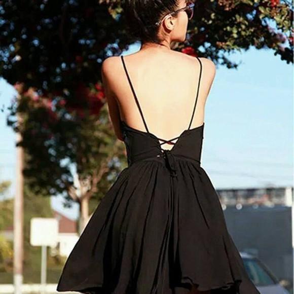 adorable back backless dress little black dress party dress awsome trendy ootd