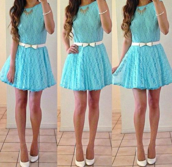 bows lace dress blue dress white belt
