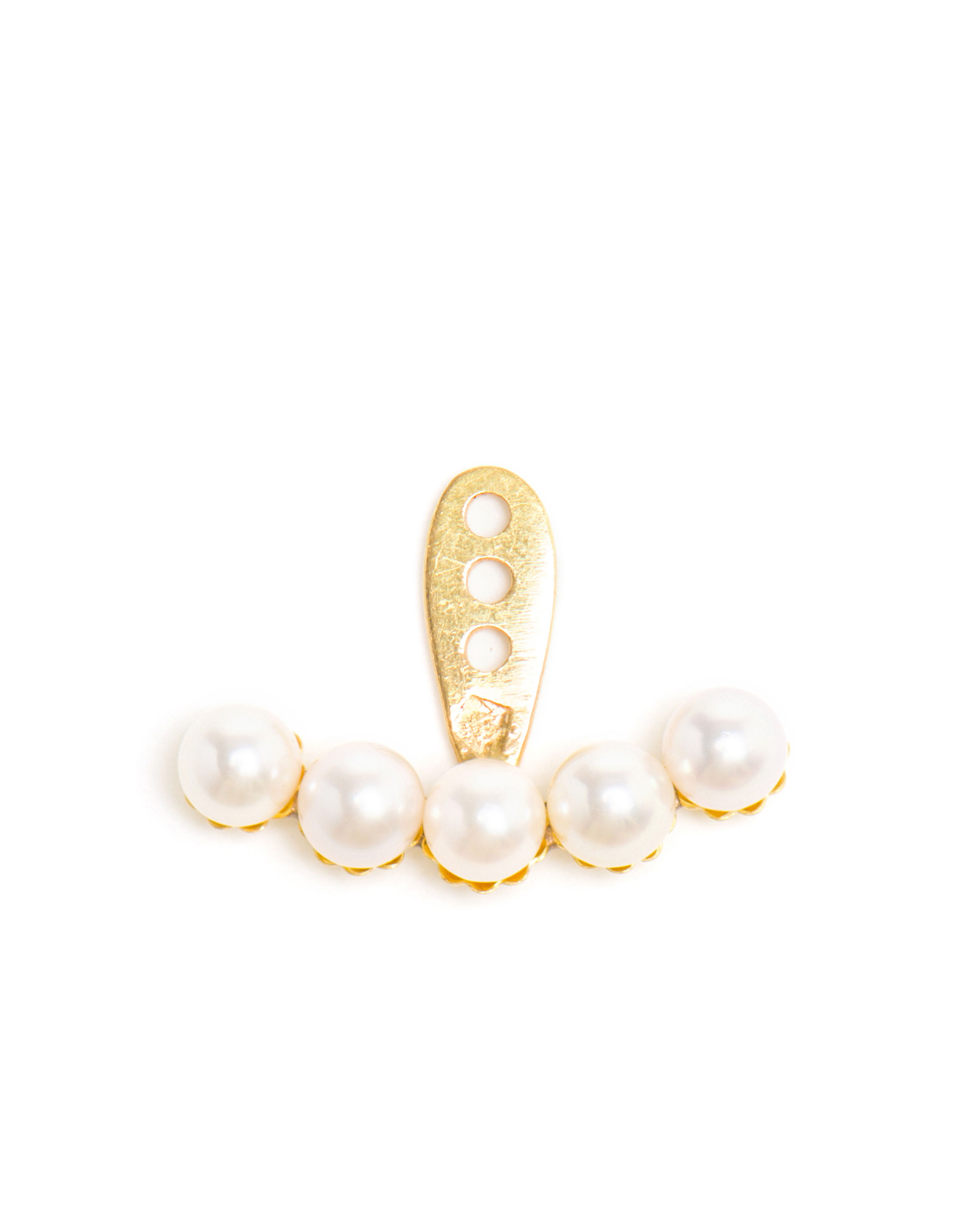 18k Gold Five Mini Pearl Lobe Earring