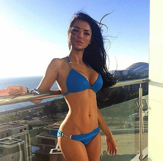swimwear bikini blue girl black gold sun wind body abs v line view balcony fashion