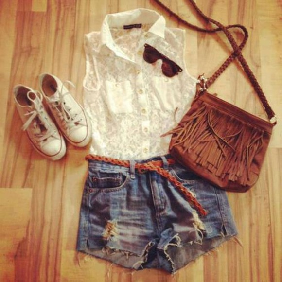 shorts cutoff shorts summer outfits shirt lace converse bag white sleeveless shirt lace shirt