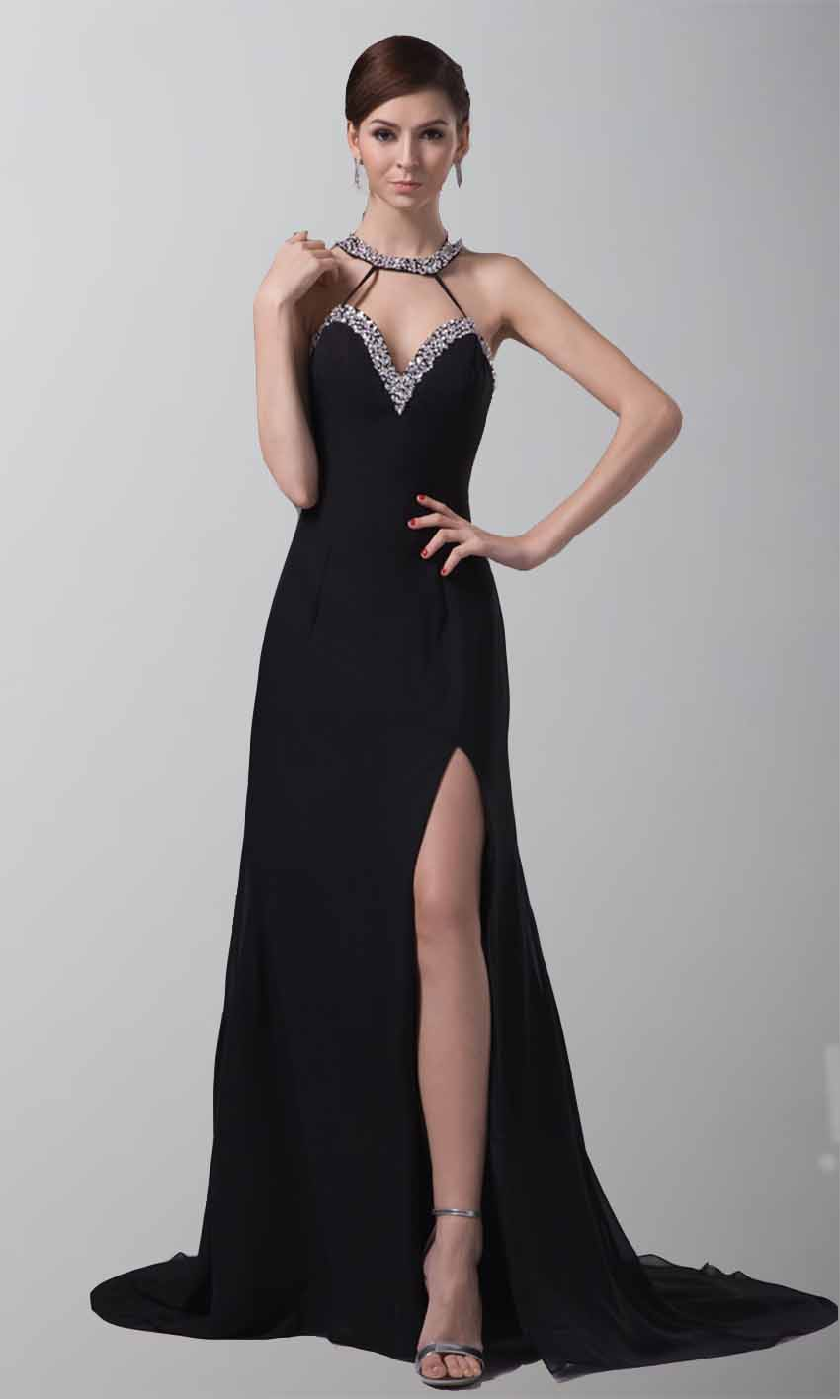 Long Black Sequin Sweetheart Evening Gowns With Slit [KSP187 ...