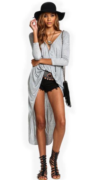 top grey long sleeves asymmetrical festival trendy summer boho freevibrationz