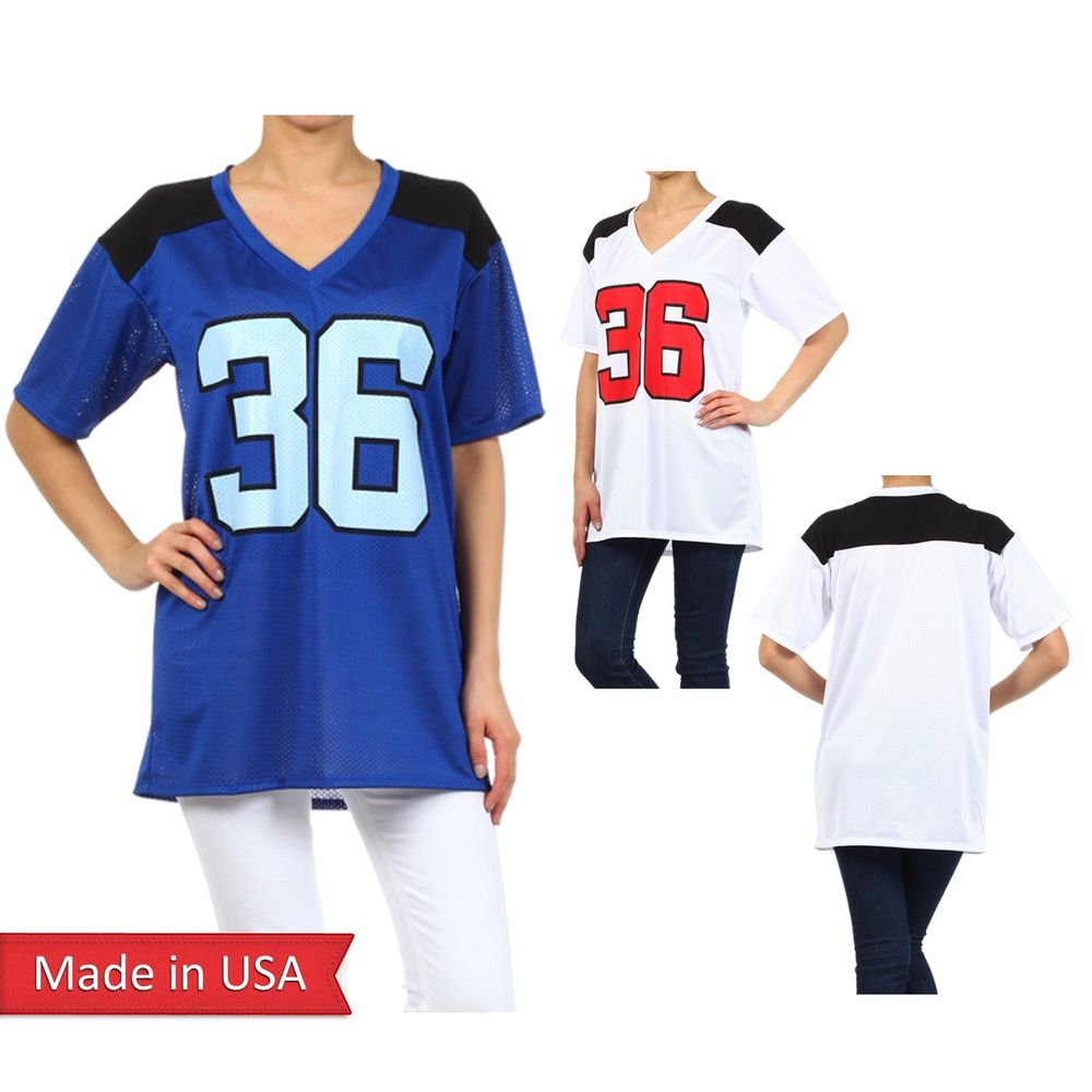 New Mesh Blue White American Football Game Sport #36 Oversized Tee Top Shirt USA