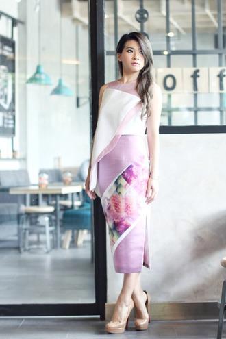 brown platform blogger lilac asymmetrical nude high heels