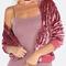 Pink zip up ribbed trim velvet bomber jacket -shein(sheinside)