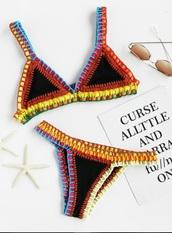 swimwear,bikini,girly,bikini top,bikini bottoms,crochet,crochet bikini,triangle,triangle bikini