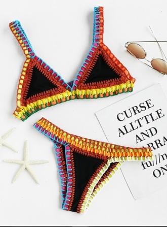 swimwear bikini girly bikini top bikini bottoms crochet crochet bikini triangle triangle bikini