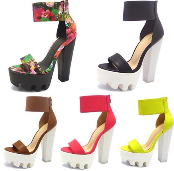 shoes heels summer neon floral fashion open toes chunky heels