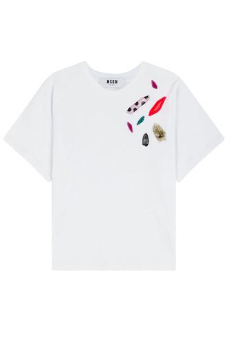 t-shirt shirt embellished white top