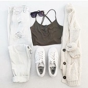 shirt,khaki,crop tops,sleeveless,spaghetti strap,white cardigan,knitted cardigan,jeans,cardigan,tumblr,adidas,tumblr outfit,cute outfits,ripped jeans,aesthetic,sweater,denim,white,white jeans