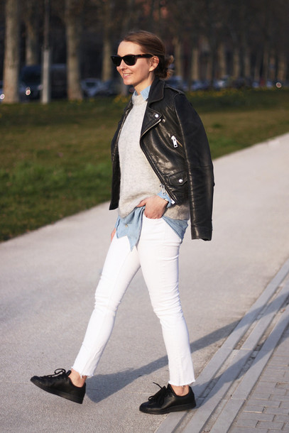 jane's sneak peak blogger leather jacket white jeans