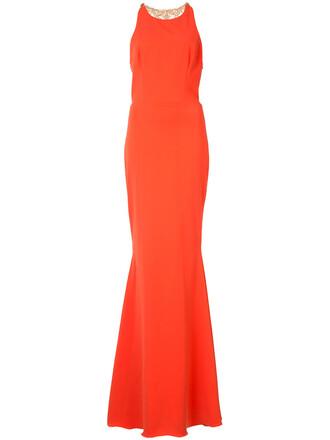 gown back women embellished yellow orange dress