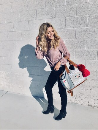 birdalamode blogger blouse jeans bag belt shoes jewels fall outfits handbag pink blouse ankle boots