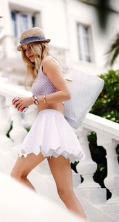 skirt,cute,girly,summer,flouncy,white,lauren conrad,shirt,white skirt,ruffle,high waisted skirt,bag,white bag,summer outfits,mini skirt,tank top,crop tops,top,hat,fashion,pretty,jewelry,bracelets,breezy,sweet,skater skirt,cute outfits,hipster,jacket,spring skirt,lace skirt,summer dress