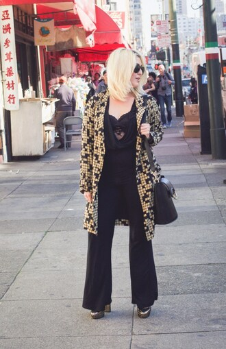 katwalksf blogger jumpsuit jacket coat shoes bag sunglasses